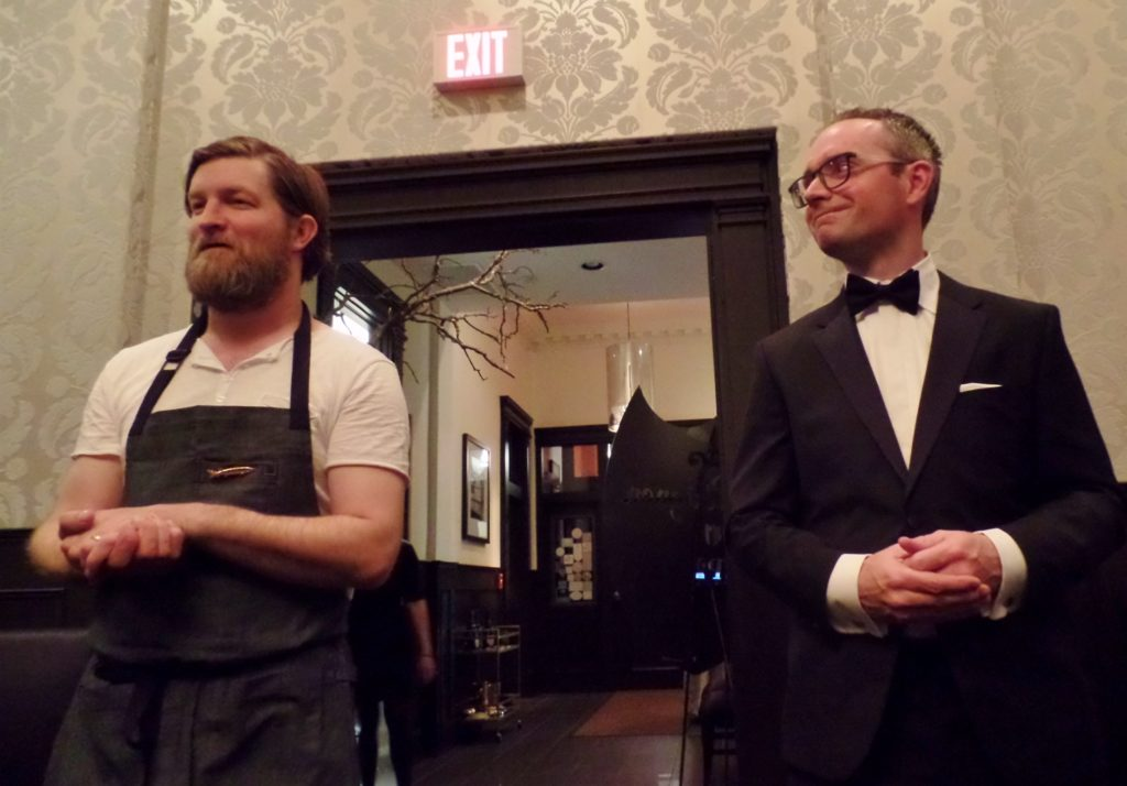 Jeremy Charles (L) and Jeremy Bonia address guests at Dom Pérignon dinner