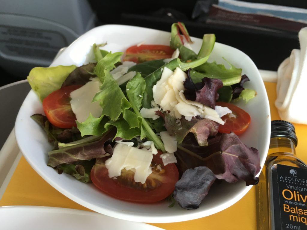 Air Canada lettuce, tomato and cheese salad