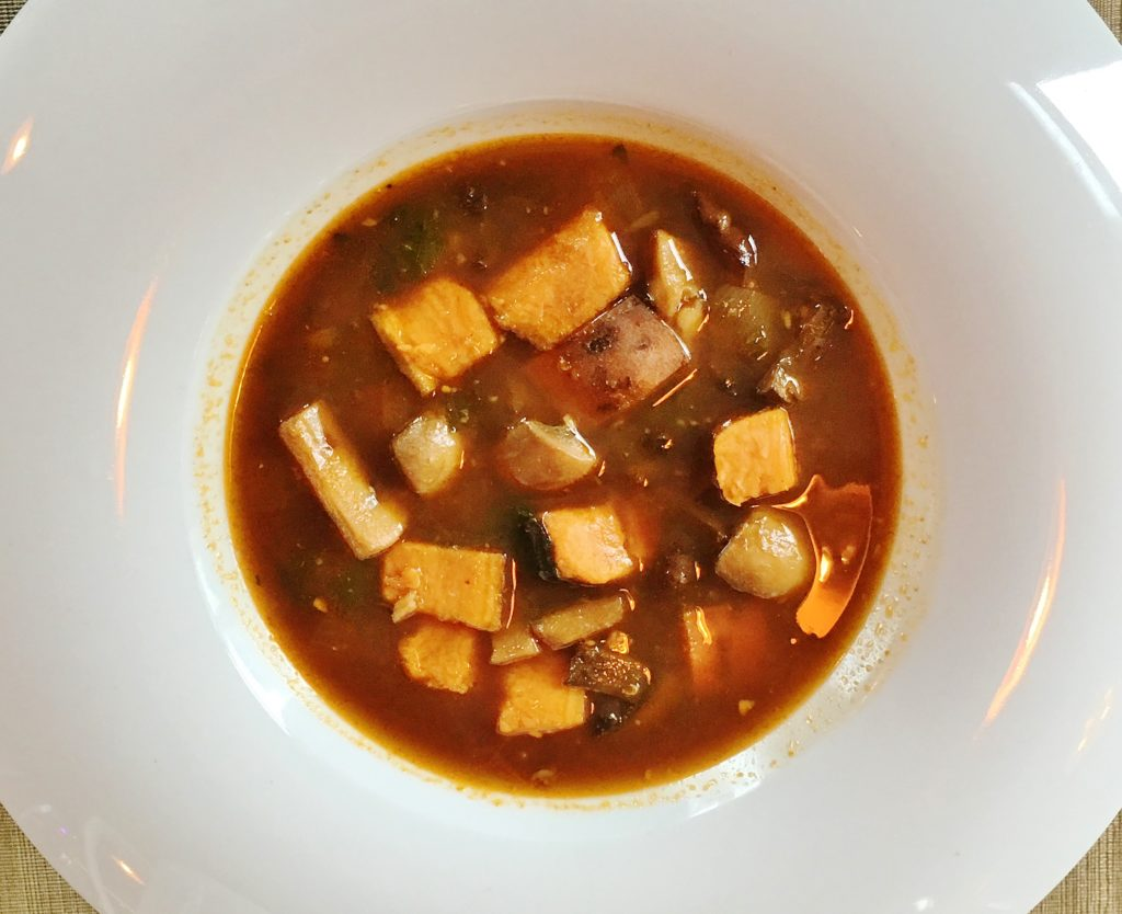 Exile's mushroom and sweet potato soup