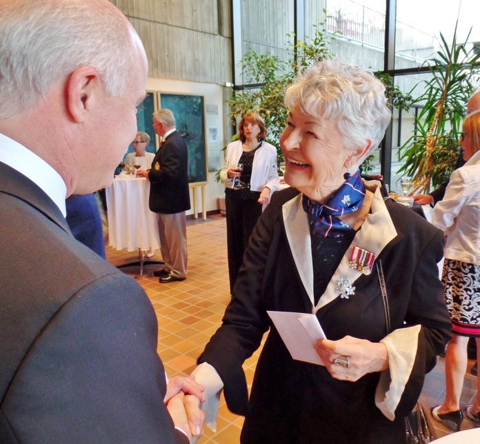 Elinor Gill Ratcliffe greets guests at the Freedom of the City reception